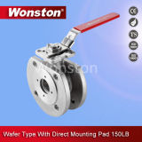 Wafer Type Ball Valve with Direct Mounting Pad ASME 150lbs