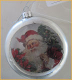 Clear Christmas Flat Glass Ball with Santa Clause Paper