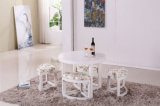 One Table with Four Stools Wooden Dining Set (M-X1026)