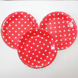 "9"" Party Paper Plate, Round Polka Red DOT Paper Plates"