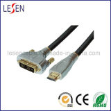 HDMI 19-Pin Plug to DVI Plug Digital Cable, Metal Shell