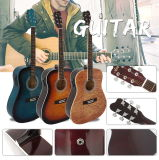 Wholesale Quilted Top Plywood Colourful Electrical Acoustic Guitar