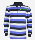 Basic Style Striped Blue Long Polo Shirt