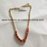 Fashion Metal Red Gem Gold Plated Necklace Fashion Jewelry