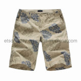 Leaf Printed 100% Cotton Men′s Shorts (GT21312)