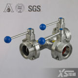Stainless Steel 180 Degree Three Way Male Thread Butterfly Valve