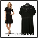Ladies Fashion Short Sleeve Black Summer Party Dress