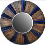 Antique Recycled Wood Round Mirror (LH-423629)