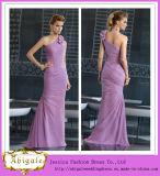 One Shoulder Sleeveless Mermaid Chiffon a-Line Mother of The Bride Beach Wedding Dress (MI 3527)