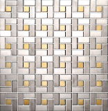 Brushed Silver and Golden Mix Metal Mosaic (J855001)