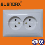 EU Style Flush Mounting Double Wall Socket Outlet (F6209)