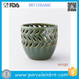 Wholesale Cup Shape Jade Green Ceramic Candle Holder