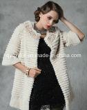 Women′s Winter Warm 100% Rabbit Fur Long Coat with Flowers Pattern