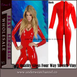 High Quality Gloss Stretch Vinyl Rubber Faux Leather Jumpsuit (8044)