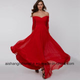 Sleeves Pleats Ruched Chiffon Evening Dress