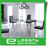 Glass Dining Table with Stainless Steel Legs
