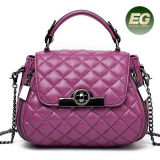 Fashionable Soft Grid Lady Bags Real Leather Women Handbag Shoulder Bags From Guangzhou OEM Factory Emg5204