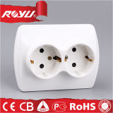 Double 3 Pin Universal Kitchen Wall Mounted Power Outlet Socket