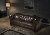 Chesterfield Deep Button Tufted White Genuine Leather Contemporary Sofa 3 Seat