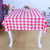 Cheap Promotional Polyester Rectangle Grid Table Cloth (DPF107101)