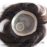 Indian Remy Human Hair PU Mono Toupee for Men