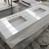 White Double Sink Quartz Stone Kitchen Countertop for Hotel Project