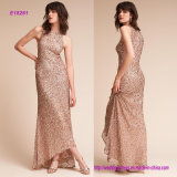 Head-to-Toe Crushed Sequins, a Cutaway Neckline, and High-Low Hem Prom Dress with Modern Appeal