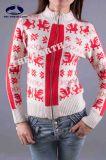 Ladies Cashmere High Neck Cardigan with Intersia & Zip