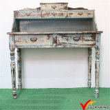 Handmade Indoor Distressed Wood Carved Console Table
