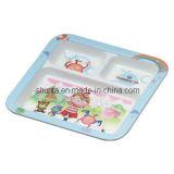 100% Melamine Dinnerware- Kid′s Rectangle 3-Divide Plate (pH823)