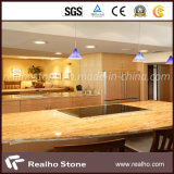 Polished Bullnose Natural Wooden Yellow Marble Countertop