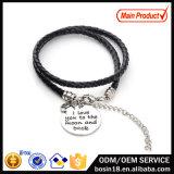 Fashion Zinc Alloy Charm Custom Leather Bracelet for Couple