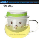 260ml All-in-One Glass Tea Mug with Integrated Filter and Lid