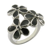 Steel Enamel Flower Ring Women Ring