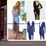 Latest Design Women V-Neck Slit Long Prom Bandage Dresses (TONY8017)
