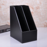 A4 Black PU Leather File Holder Box with Two Dividers