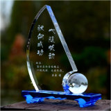 Unique Design Blue Crystal Trophy for Souvenirs & Winners