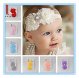 Baby Elastic Handmade Lace Feather Headband with Flower