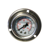 1.5inch-40mm Half Stainless Steel Back Liquid Filled Pressure Gauge with Flange