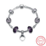 925 Sterling Steel Bracelet with a Ring Inset Pole Chain Glass Beads Beautiful Jewelry