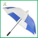 Auto Open Straight Plastic Cap Non-Drip Umbrella in Waterproof Blue Pongee with Rubber Handle