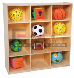 Kindergarten Furniture Kids Wood Storage Cabinet, Movable Kids Cabinet. School Storage Unit for Kids (KB-22)
