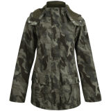 Waterproof Camouflage Polyester PU Coat/ Multifunctional Anti Windbreaker