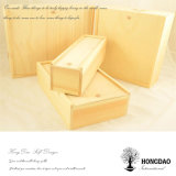 Hongdao Wholesale Price Unfinished Pine Natural Color Wooden Wine Gift Box with Sliding Lid _E