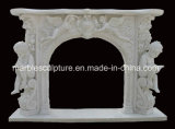 European Style Antique Marble Fireplace Carved Figures and Flowers (SY-MF181)