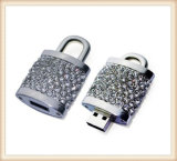Silver Locker Shape Luxury Diamond USB Flash Drive (ED005)