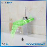 LED Glass Spout Waterfall Vessel Sink Cold and Hot Water Tap Mixer