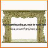 Decoration Indoor Fireplace with Yellow Marble