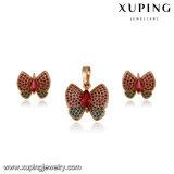 64191 Fashion 18k Gold Plated Colorful CZ Butterfly Jewelry Set