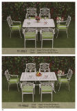 White Cast Aluminum Rectangular Cocktail Table and Chair